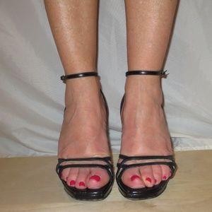 Worn SERGIO ROSSI Black Thin Strap Sandal Heels